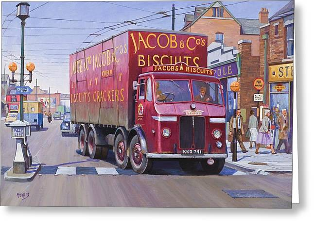 Streetscenes Paintings Greeting Cards - Jacobs Leyland Octopus Greeting Card by Mike  Jeffries