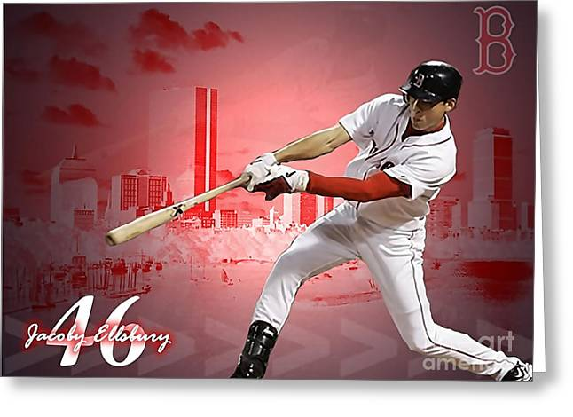 Jacoby Ellsbury Greeting Card by Marvin Blaine