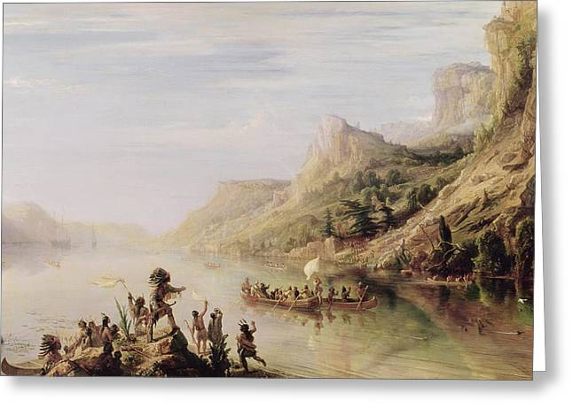 Canoe Photographs Greeting Cards - Jacques Cartier 1491-1557 Discovering The St. Lawrence River In 1535, 1847 Oil On Canvas Greeting Card by Jean Antoine Theodore Gudin