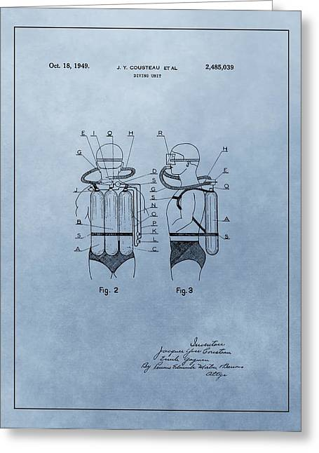 Scuba Diving Mixed Media Greeting Cards - Jacques Cousteau Diving Suit Patent Greeting Card by Dan Sproul