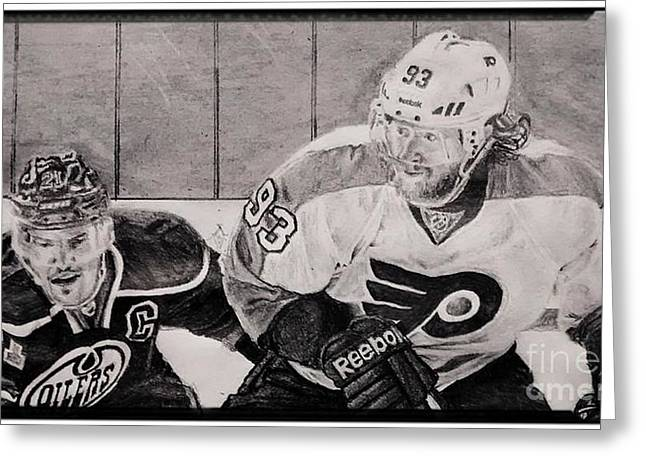 Philadelphia Flyers Drawings Greeting Cards - Jacub Voracek Greeting Card by Ezra Strayer