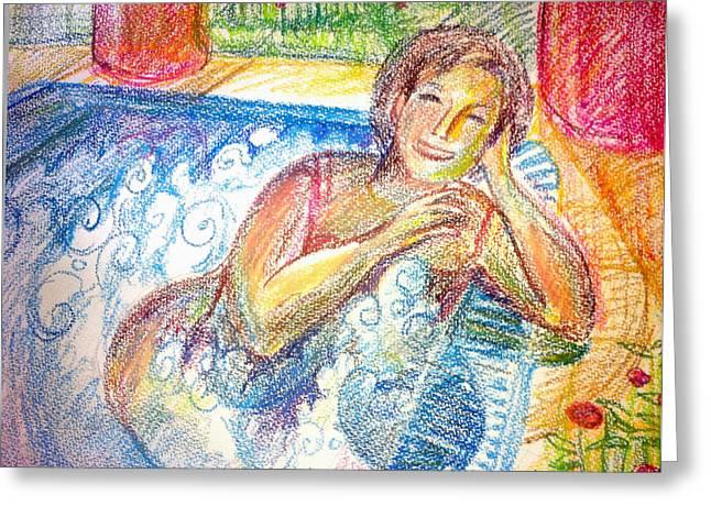 Healthy Pastels Greeting Cards - Jacuzzi Greeting Card by Olga Sheyn