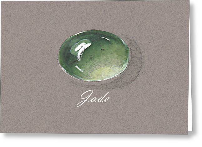 Carat Paintings Greeting Cards - Jade Cabochon Greeting Card by Marie Esther NC