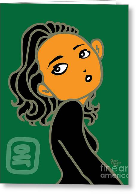 Moss Green Drawings Greeting Cards - Jade Greeting Card by Cesar Pacheco