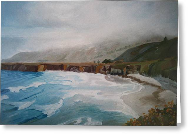 Big Sur Beach Paintings Greeting Cards - Jade Cove Greeting Card by Laura Garrison
