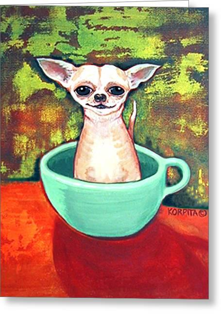Chiwawa Greeting Cards - Jadite Fireking Teacup Chihuahua Greeting Card by Rebecca Korpita