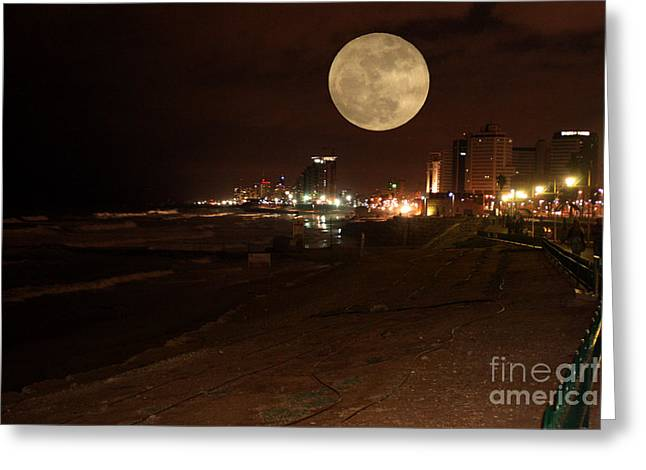 Old Western Photos Mixed Media Greeting Cards - Jaffa at Night Greeting Card by Michael Braham