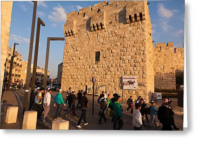 Yafo Greeting Cards - Jaffa Gate Greeting Card by Jonathan Gewirtz