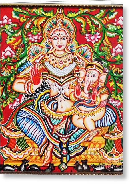 Kami A Paintings Greeting Cards - Jaganmatha Greeting Card by Jayashree
