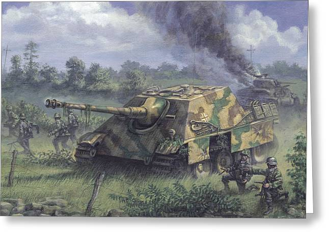 The Tiger Greeting Cards - Jagdpanther in Normandy 1944 Greeting Card by Philip Arena