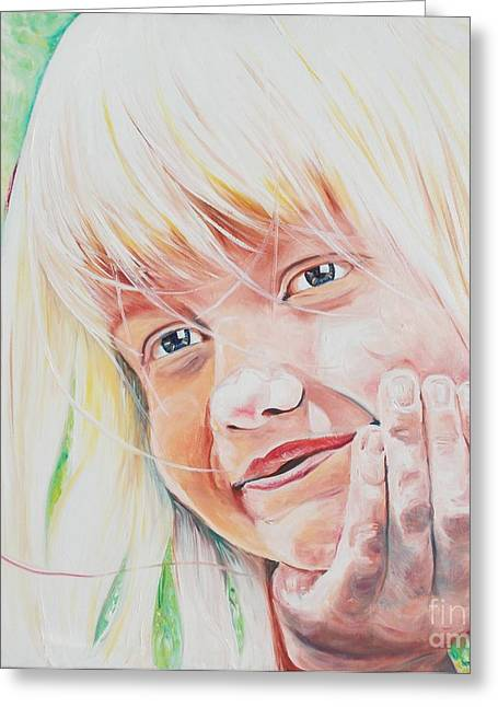 Schoolgirl Paintings Greeting Cards - Jager- Girl Resting Greeting Card by PainterArtist FINs husband Maestro