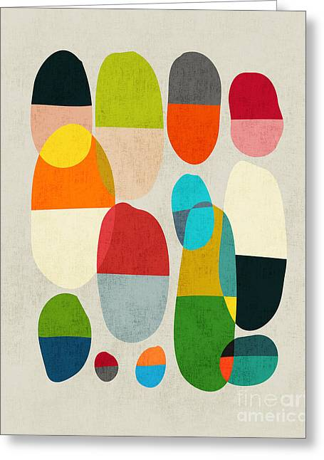Colorful Geometric Greeting Cards - Jagged little pills Greeting Card by Budi Kwan
