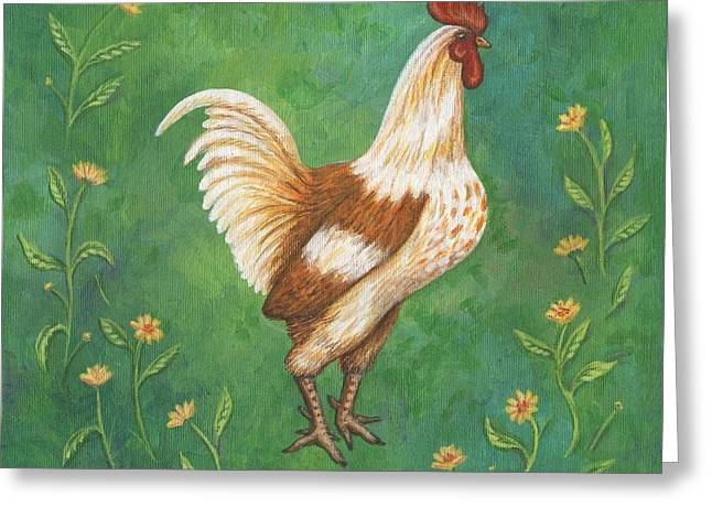 Rooster Greeting Cards - Jagger the Rooster Greeting Card by Linda Mears