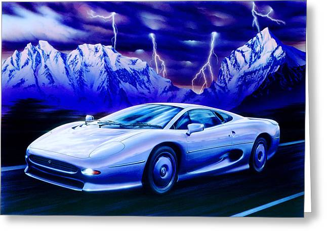 Blue Car. Greeting Cards - Jaguar 220 Greeting Card by Garry Walton