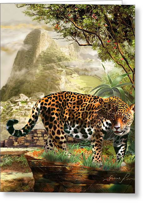 Historical Acrylic Prints Greeting Cards - Jaguar in the shadow of  Machu Picchu Peru Greeting Card by Gina Femrite