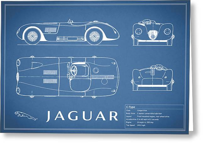 Blue Classic Car Greeting Cards - Jaguar C-TYpe Blueprint Greeting Card by Mark Rogan