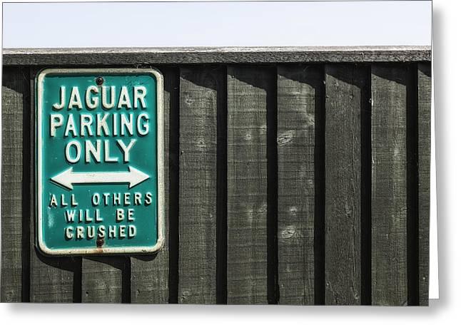 Signed Photographs Greeting Cards - Jaguar car park Greeting Card by Joana Kruse