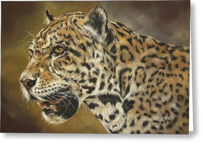 Jaguars Pastels Greeting Cards - Jaguar Greeting Card by Christina Frenken