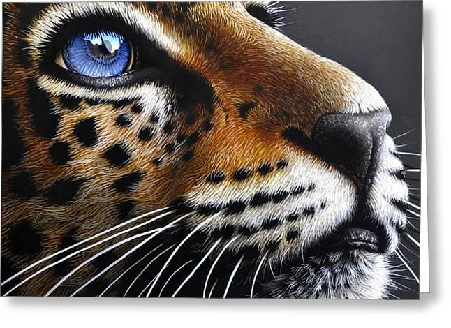 Jaguars Paintings Greeting Cards - Jaguar Cub Greeting Card by Jurek Zamoyski