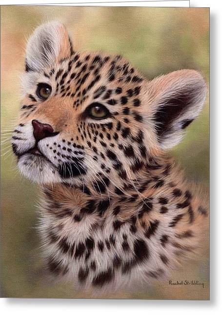 Big Cat Art Greeting Cards - Jaguar Cub Painting Greeting Card by Rachel Stribbling