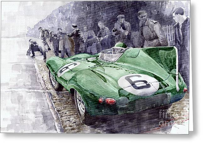 Man Greeting Cards - Jaguar D-TYPE  1955 Le Mans  Greeting Card by Yuriy Shevchuk