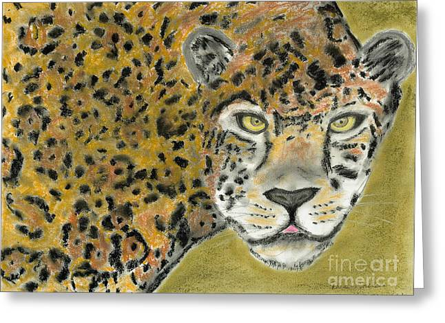 Jaguars Pastels Greeting Cards - Jaguar Greeting Card by David Jackson