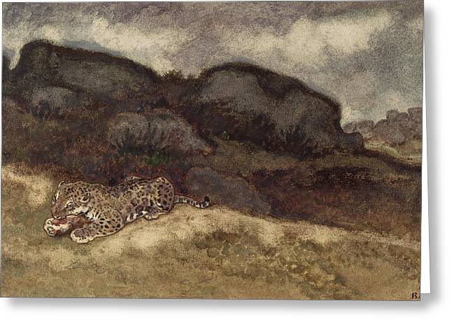 Creature Eating Greeting Cards - Jaguar Devouring its Prey Greeting Card by Antoine Louis Barye