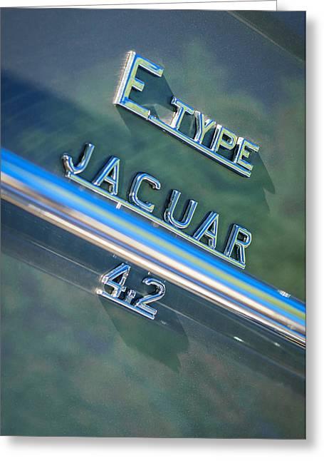 Jaguars Greeting Cards - Jaguar E-Type 4.2 Emblem -0065c Greeting Card by Jill Reger