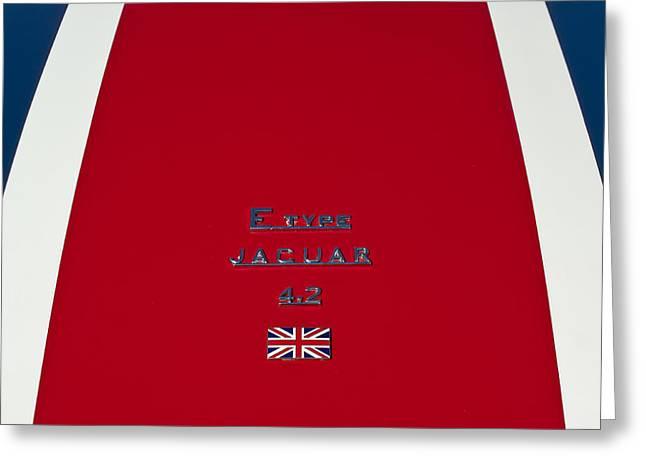 Famous Photographers Greeting Cards - Jaguar E-type 4.2 Emblem 3 Greeting Card by Jill Reger