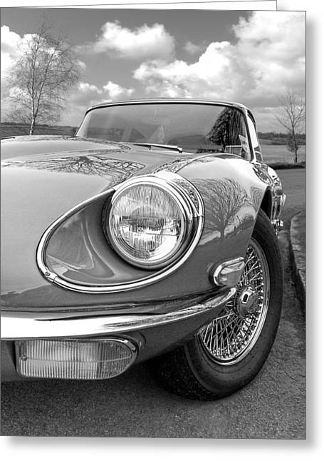 Tye Greeting Cards - Jaguar E-Type Black and White Greeting Card by Gill Billington