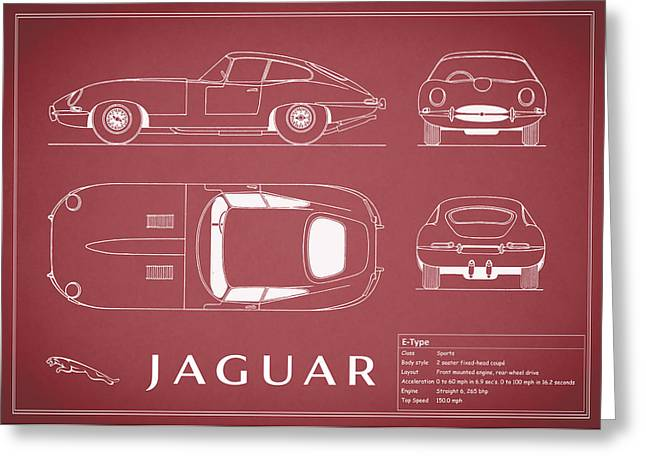 Jaguars Greeting Cards - Jaguar E Type Blueprint - Red Greeting Card by Mark Rogan