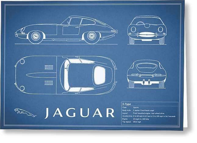 British Car Greeting Cards - Jaguar E Type Blueprint Greeting Card by Mark Rogan