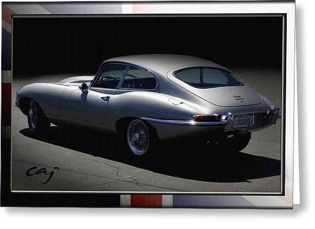Beach Theme Posters Greeting Cards - Jaguar E-Type by Moonlight Greeting Card by Curt Johnson