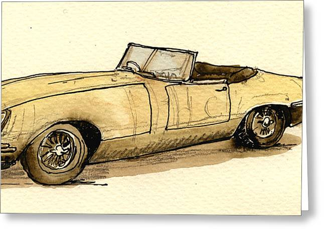 1960 Paintings Greeting Cards - Jaguar e type cabrio Greeting Card by Juan  Bosco