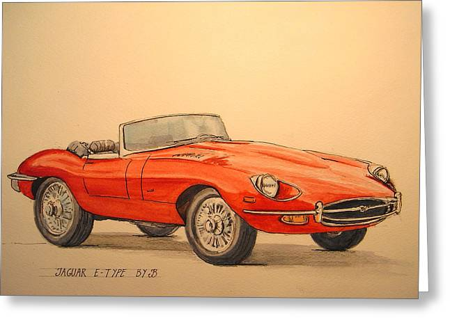 1960 Paintings Greeting Cards - Jaguar e type Greeting Card by Juan  Bosco