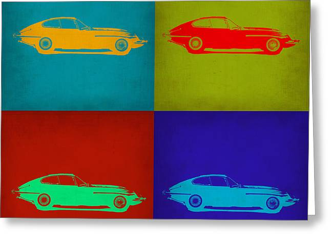 Jaguars Greeting Cards - Jaguar E Type Pop Art 1 Greeting Card by Naxart Studio