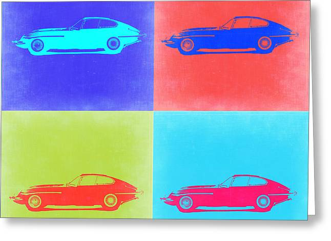 Jaguars Greeting Cards - Jaguar E Type Pop Art 2 Greeting Card by Naxart Studio