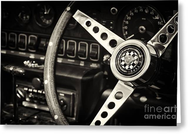 English Car Greeting Cards - Jaguar E Type Steering Wheel   Greeting Card by Tim Gainey