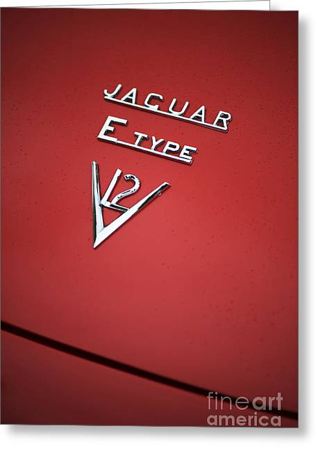 Jaguar E Type V12 Abstract Greeting Card by Tim Gainey