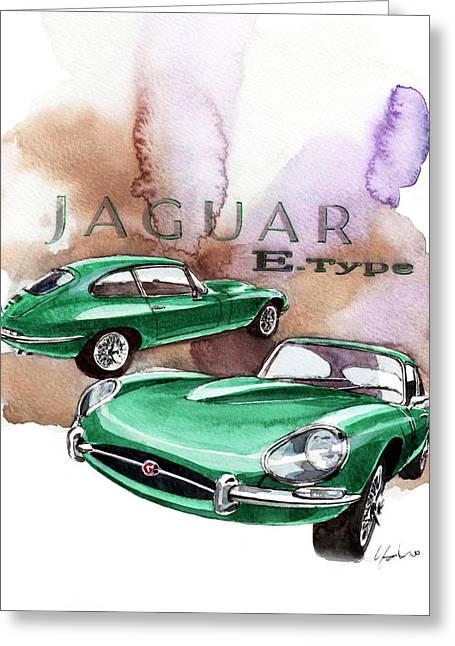 Jaguars Greeting Cards - Jaguar E Type Greeting Card by Yoshiharu Miyakawa