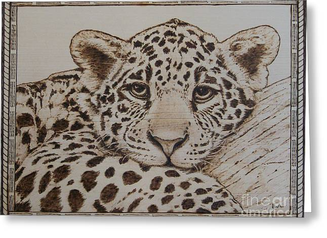 Jaguars Pyrography Greeting Cards - Jaguar Greeting Card by Eileen Annest