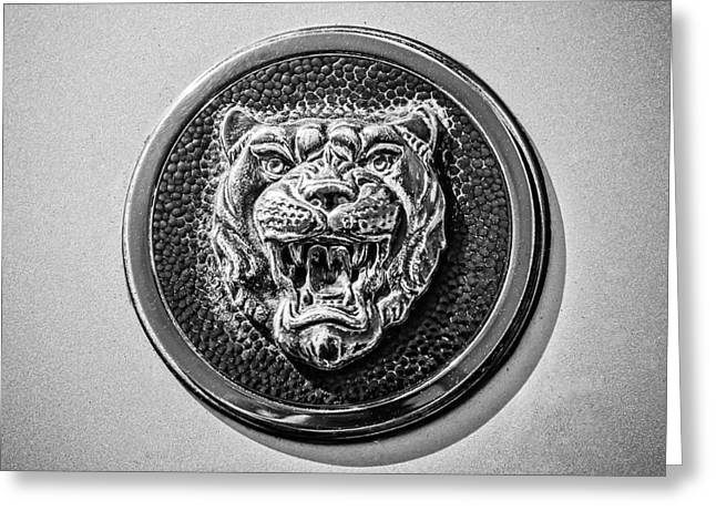 Jaguars Greeting Cards - Jaguar Emblem -0056bw Greeting Card by Jill Reger
