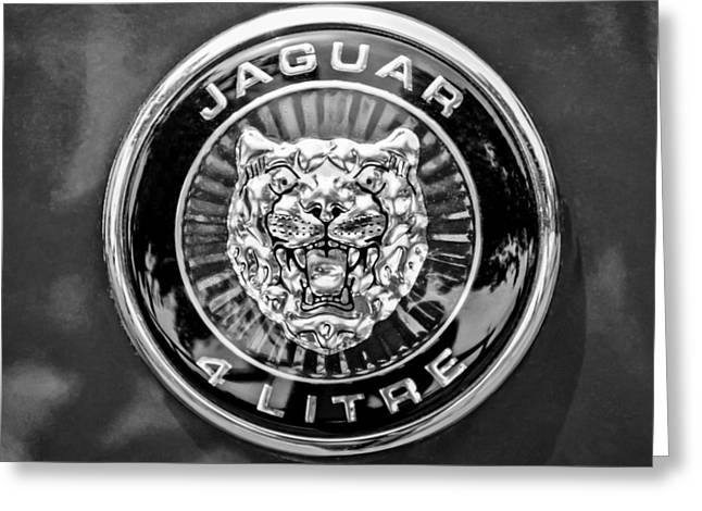 Jaguars Greeting Cards - Jaguar Emblem -0125bw Greeting Card by Jill Reger