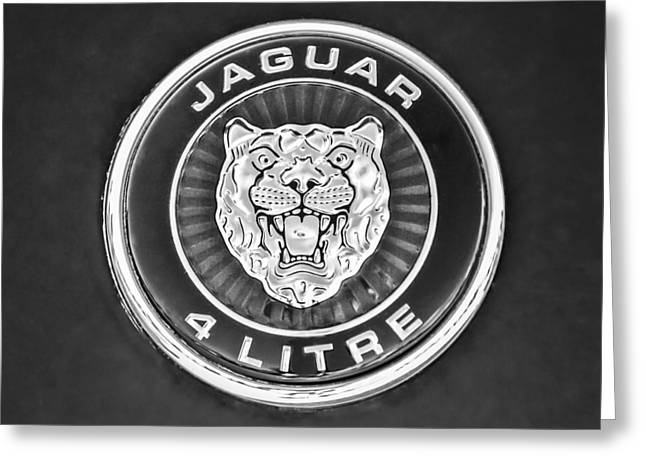 Jaguars Greeting Cards - Jaguar Emblem -0792bw  Greeting Card by Jill Reger