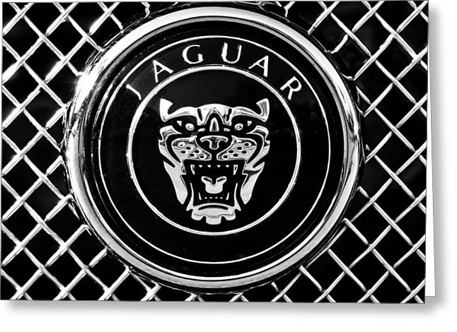 Jaguars Greeting Cards - Jaguar Grille Emblem -0317bw Greeting Card by Jill Reger