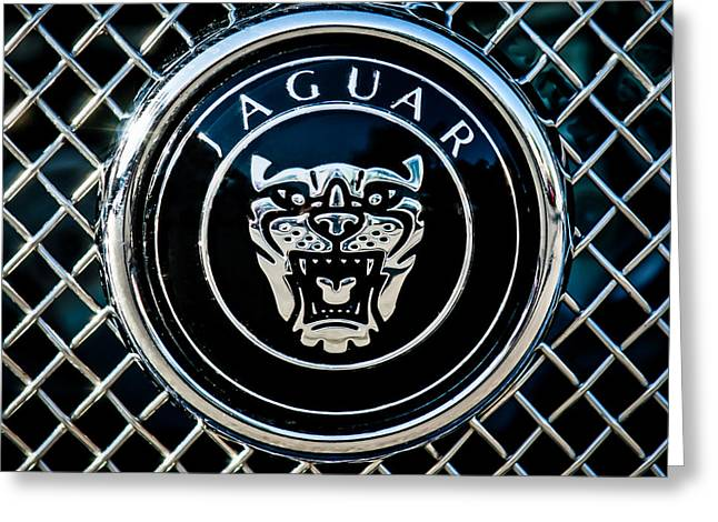 Jaguars Greeting Cards - Jaguar Grille Emblem -0317c Greeting Card by Jill Reger