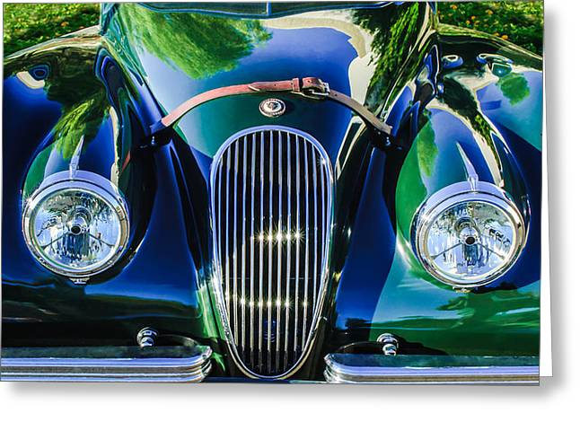 Jaguars Greeting Cards - Jaguar Hood Grille -0023bw Greeting Card by Jill Reger