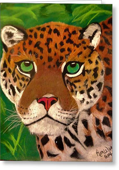 Jaguars Pastels Greeting Cards - Jaguar in the Jungle Greeting Card by Renee Michelle Wenker