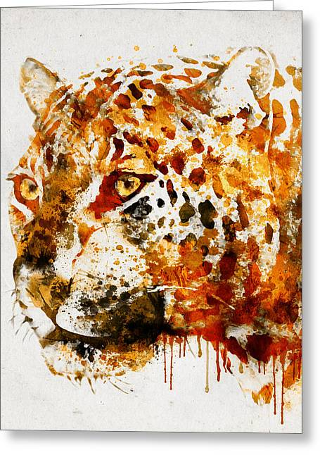 Wildlife Digital Art Greeting Cards - Jaguar in watercolor Greeting Card by Marian Voicu