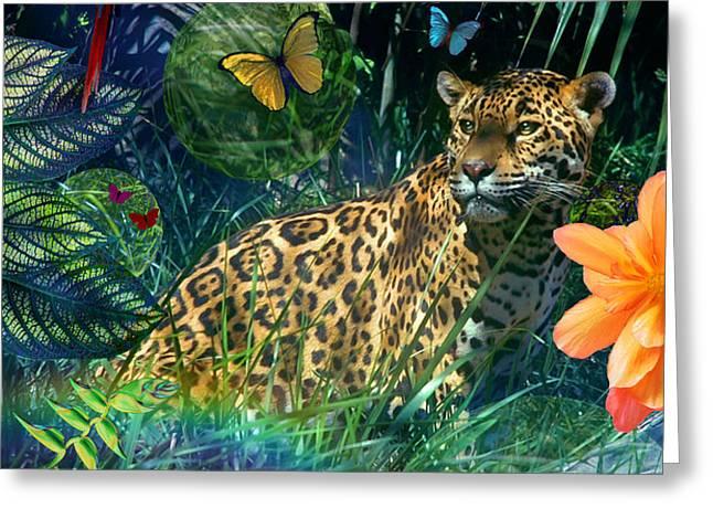 Jaguar Meadow Greeting Card by Alixandra Mullins